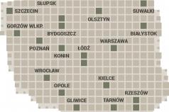 Maga Polski składająca się z kwadratowych piktogramów i nazw miast.