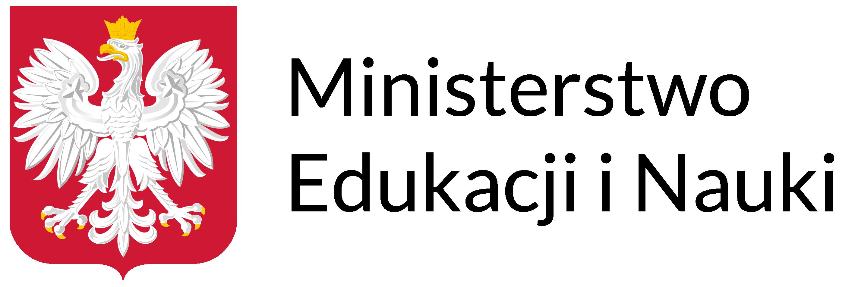 Logotyp: po lewej stronie Godło Polski po prawej stronie napis Ministerstwo Edukacji i Nauki