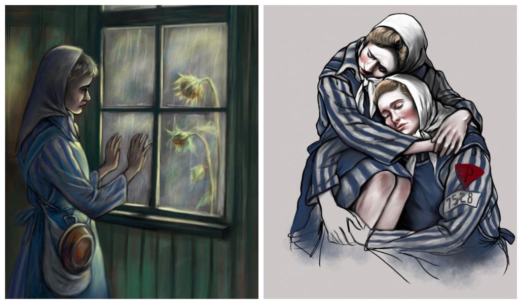 Kolaż 2 grafik. Po lewej stronie grafika przedstawia więźniarkę obozu Ravesbruck, wpatrzoną w widok za oknem oraz trzymającą dłonie na szybie. Za oknem 2 słoneczniki. Po prawej stronie grafika przedstawia 2 wtulone w siebie więźniarki obozu Ravesbruck