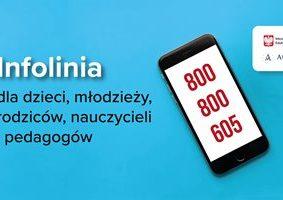 """Na niebieskim tle po lewej stronie tekst """"Infolinia dla dzieci, młodzieży, rodziców, nauczycieli i pedagogów"""". Po prawej stronie ikona telefonu z numerem 800 800 605."""