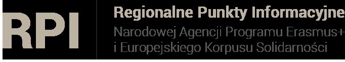 Logotyp RPI. Regionalne Punkty Informacyjne Narodowej Agencji Programu Erasmus+ i Europejskiego Korpusu Solidarności.